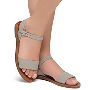 Shoes - Gray Open Toes One Band Ankle Strap Flat Sandal